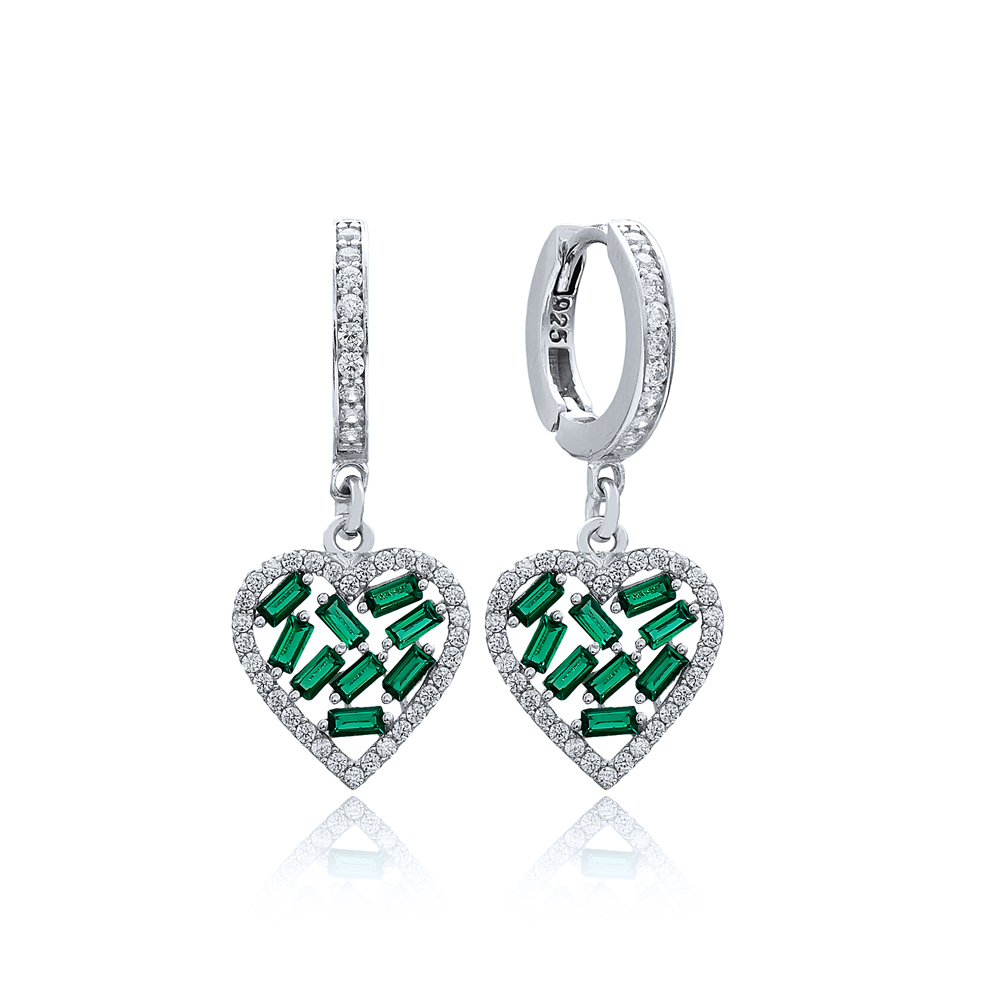 Emerald Stone Baguette Heart Design Wholesale Earring Turkish 925 Sterling Silver Jewelry