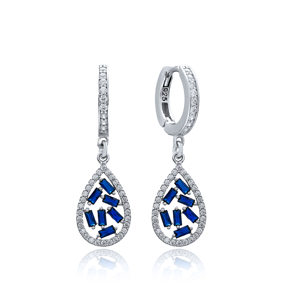 Sapphire Stone Drop Design Turkish Wholesale 925 Sterling Silver Dangle Earring