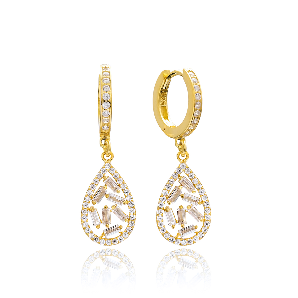 Drop Design Zircon Stone Dangle Earring Turkish Wholesale 925 Sterling Silver Jewelry