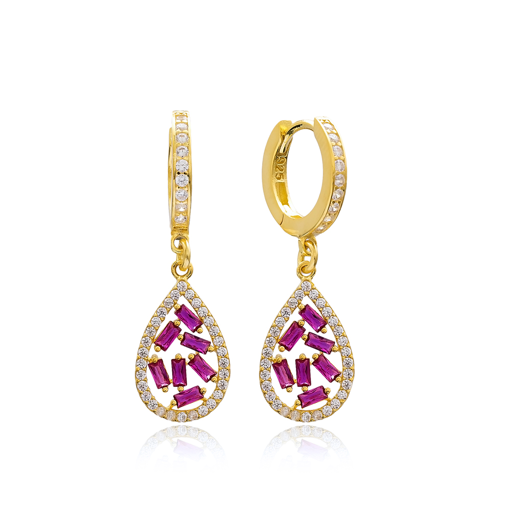 Drop Design Ruby Stone Dangle Earring Turkish Wholesale 925 Sterling Silver Jewelry