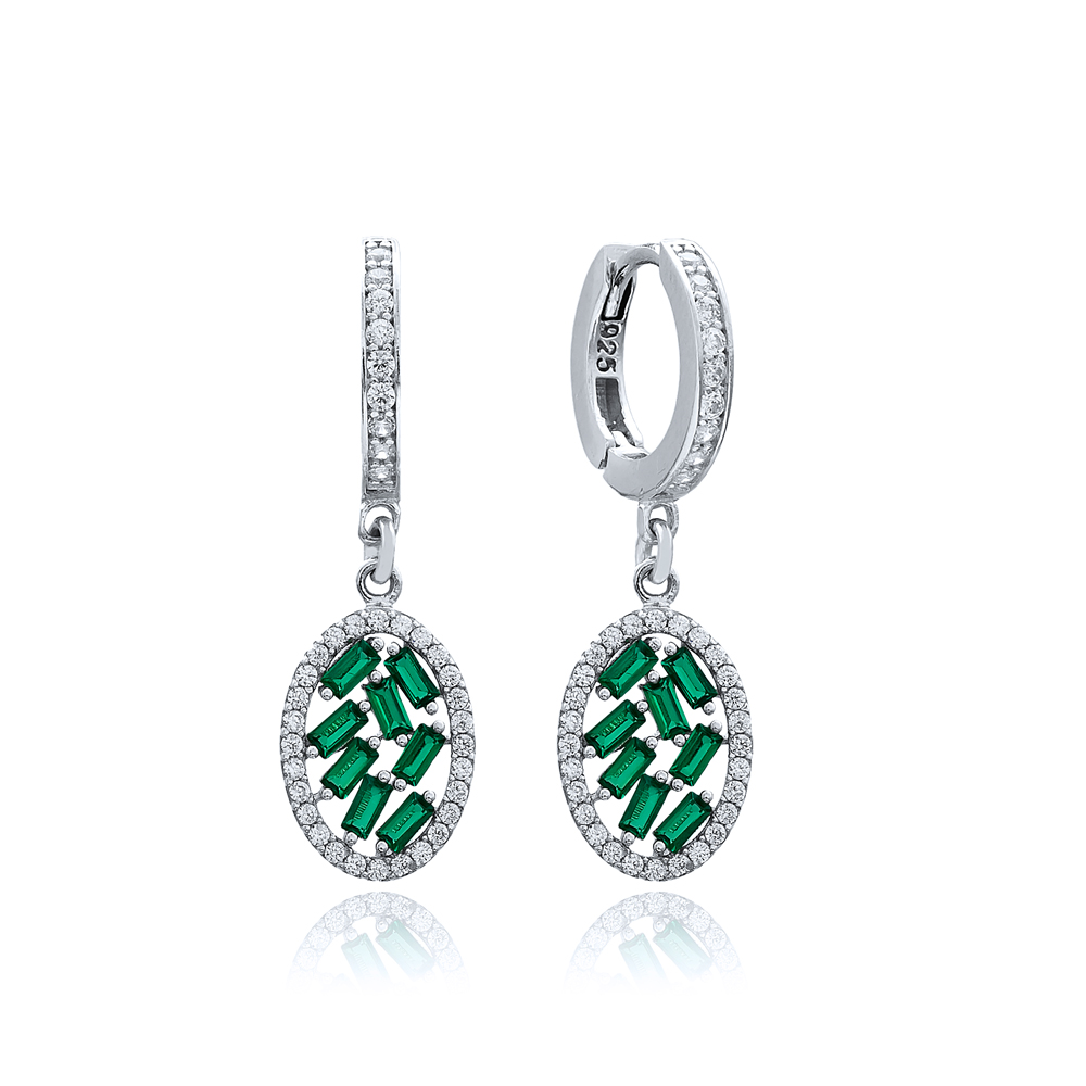 Oval Shape Emerald Stone Dangle Earring Turkish Wholesale 925 Sterling Silver Jewelry
