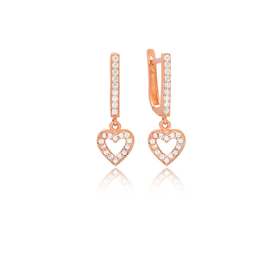 Heart Design Dangle Earrings Wholesale Handmade Turkish 925 Silver Sterling Jewelry