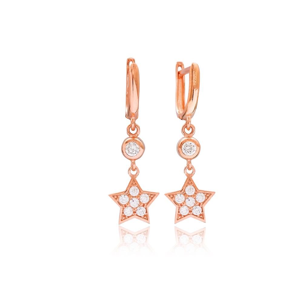 Elegant Star Design Dangle Earrings Wholesale Turkish 925 Silver Sterling Jewelry