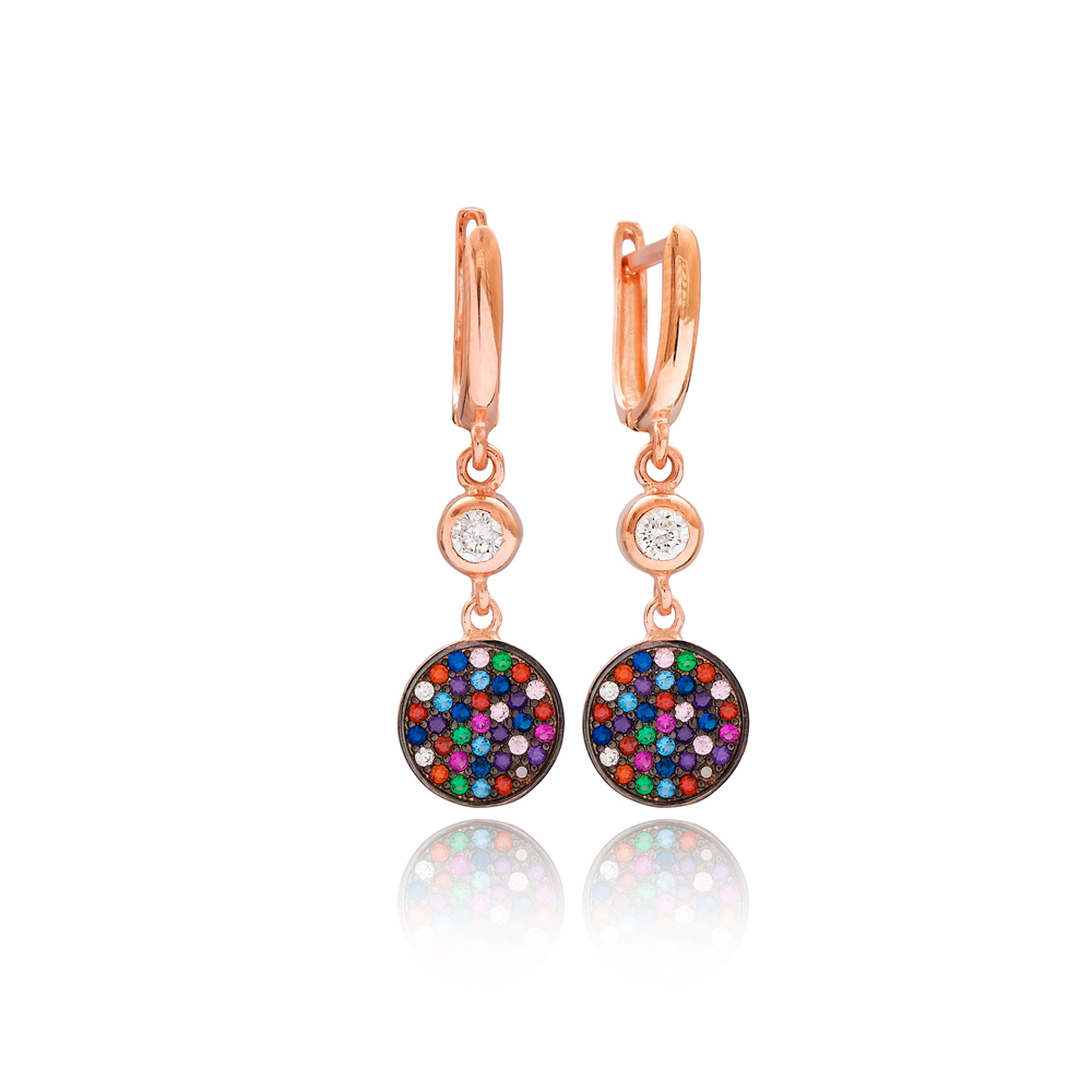 Mix Stone Round Design Dangle Earrings Wholesale Turkish 925 Silver Sterling Jewelry