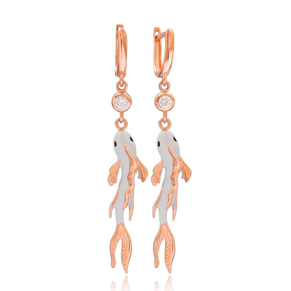 Enamel Fish Design Dangle Earrings Wholesale Turkish 925 Silver Sterling Jewelry