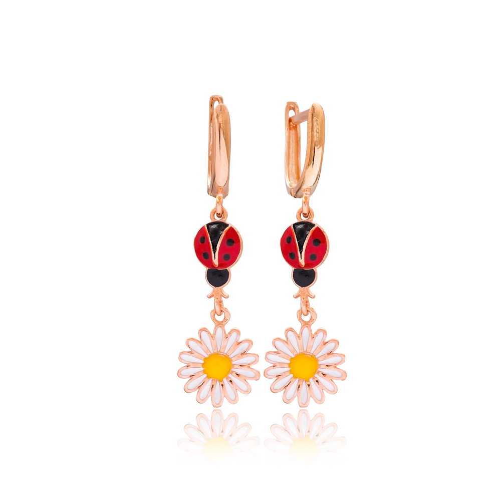 Ladybug and Daisy Design Flower Dangle Earrings Wholesale 925 Silver Sterling Jewelry