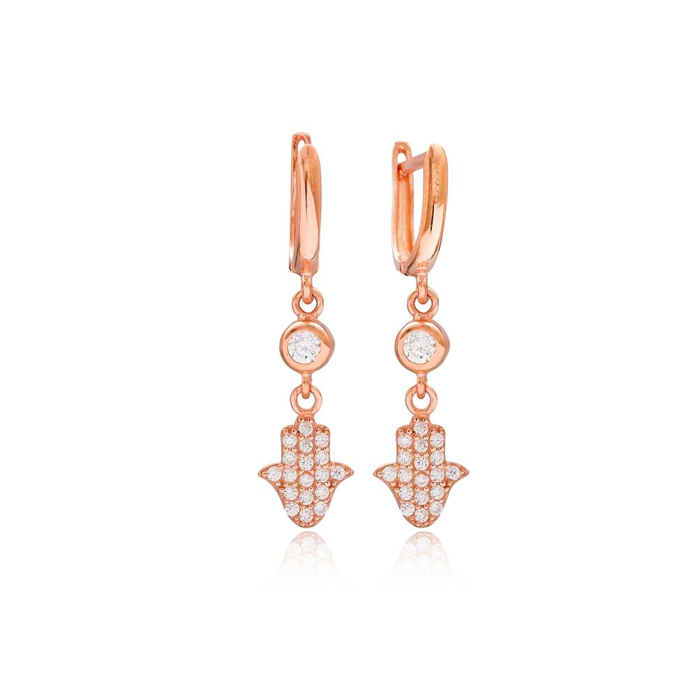 Hamsa Design Dangle Earrings Wholesale Turkish  925 Silver Sterling Jewelry