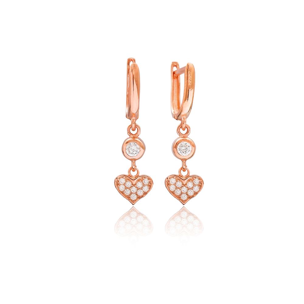 Heart Design Zircon Dangle Earrings Turkish Wholesale 925 Silver Sterling Jewelry