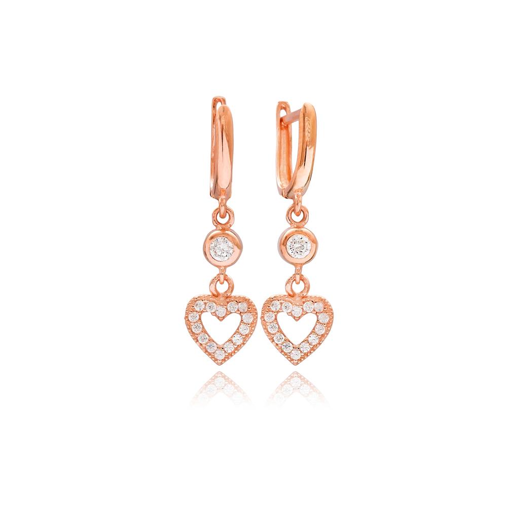 Heart Design Dainty Dangle Earrings Turkish Wholesale 925 Silver Sterling Jewelry