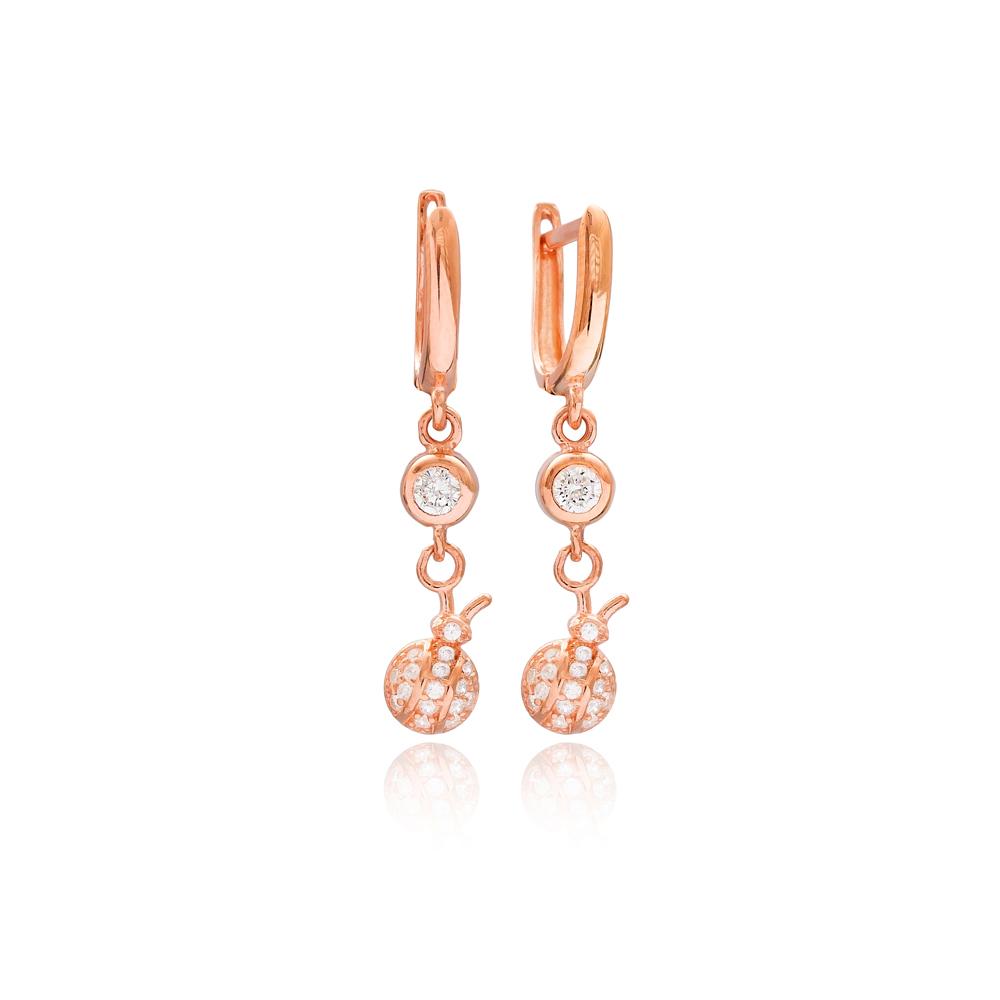 Ladybug Design Silver Dangle Earrings Turkish Wholesale 925 Silver Sterling Jewelry
