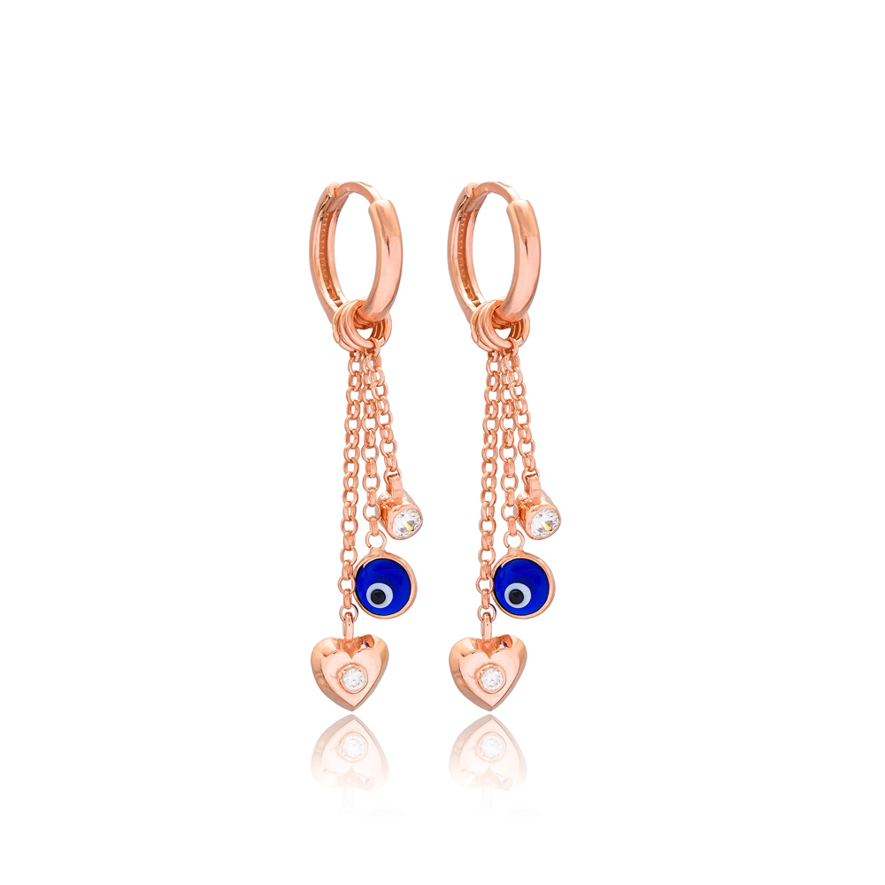 Heart And Evil Eye Charm Handmade Wholesale 925 Sterling Silver Dangle Earring