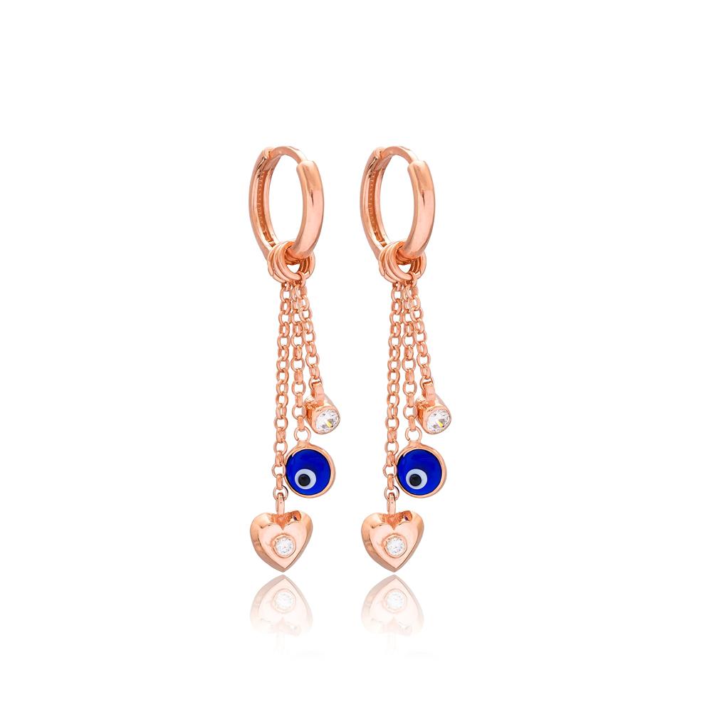 Heart And Evil Eye Charm Handmade Wholesale 925 Sterling Silver Dangle Earring
