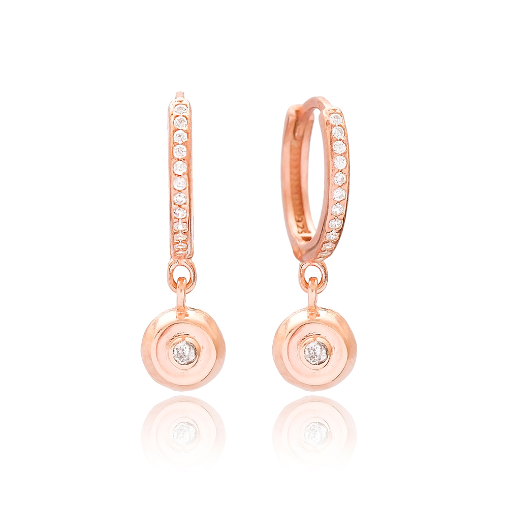 Round Design Minimal Dangle Earrings Wholesale Turkish 925 Sterling Silver Jewelry