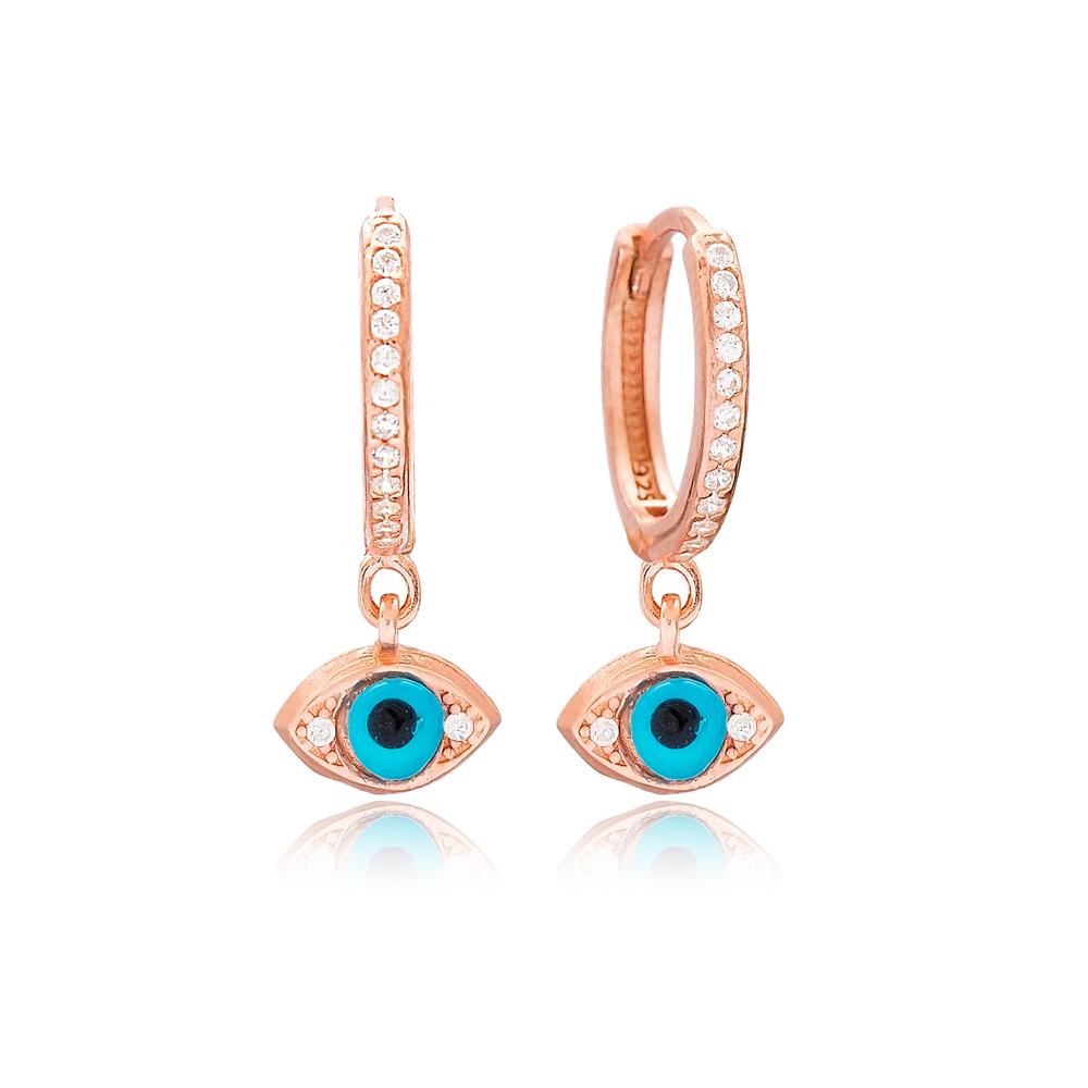 Turkish Evil Eye Design Dangle Earrings Wholesale Handmade 925 Sterling Silver Jewelry