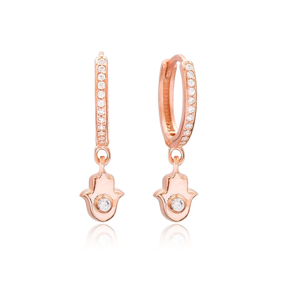 Minimal Hamsa Design Dangle Earrings Wholesale Turkish 925 Sterling Silver Jewelry