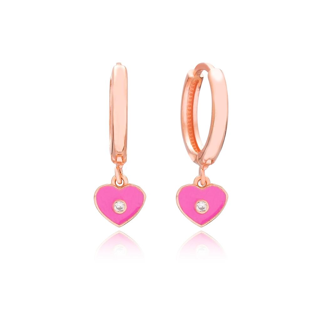Enamel Heart Design Dangle Earrings Turkish Wholesale 925 Sterling Silver Jewelry