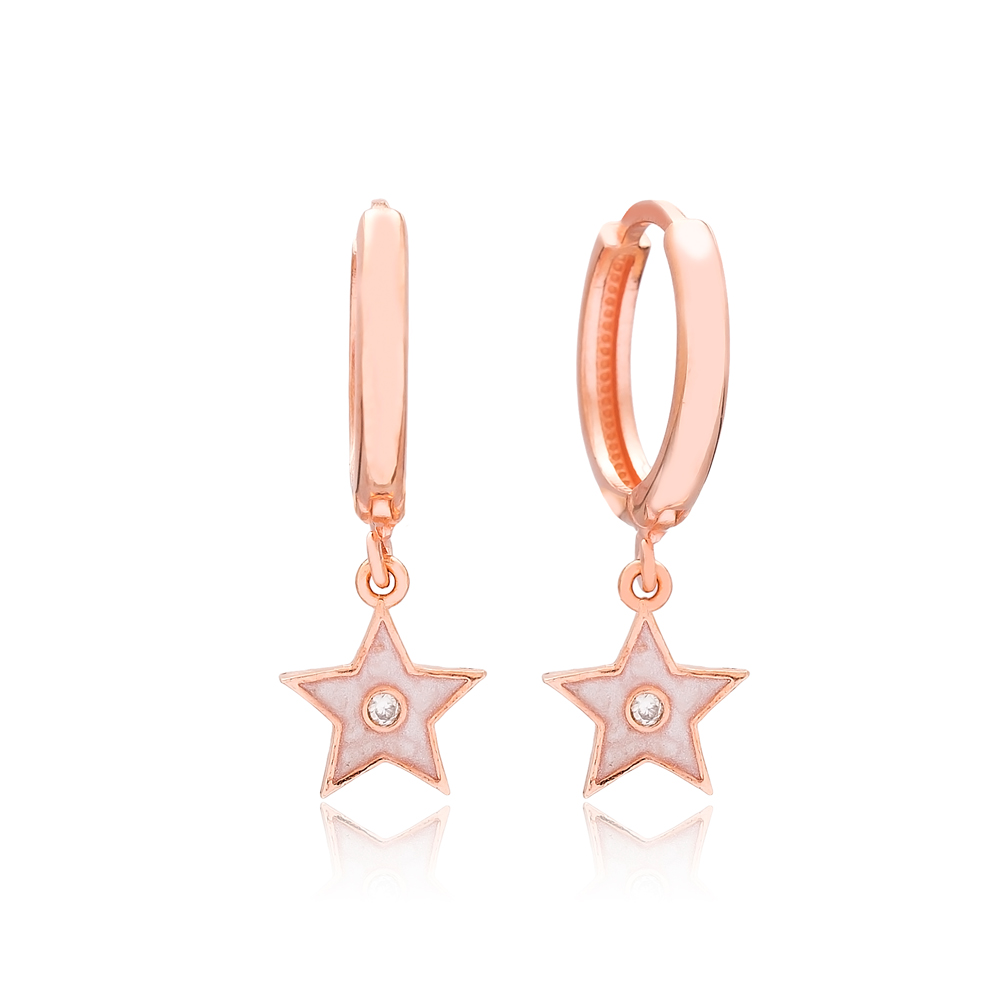 Enamel Star Design Dangle Earrings Turkish Wholesale 925 Sterling Silver Jewelry