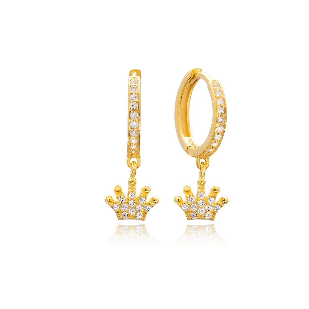 Dangle Zircon Crown Earrings Turkish Wholesale Handmade Sterling Silver Earring