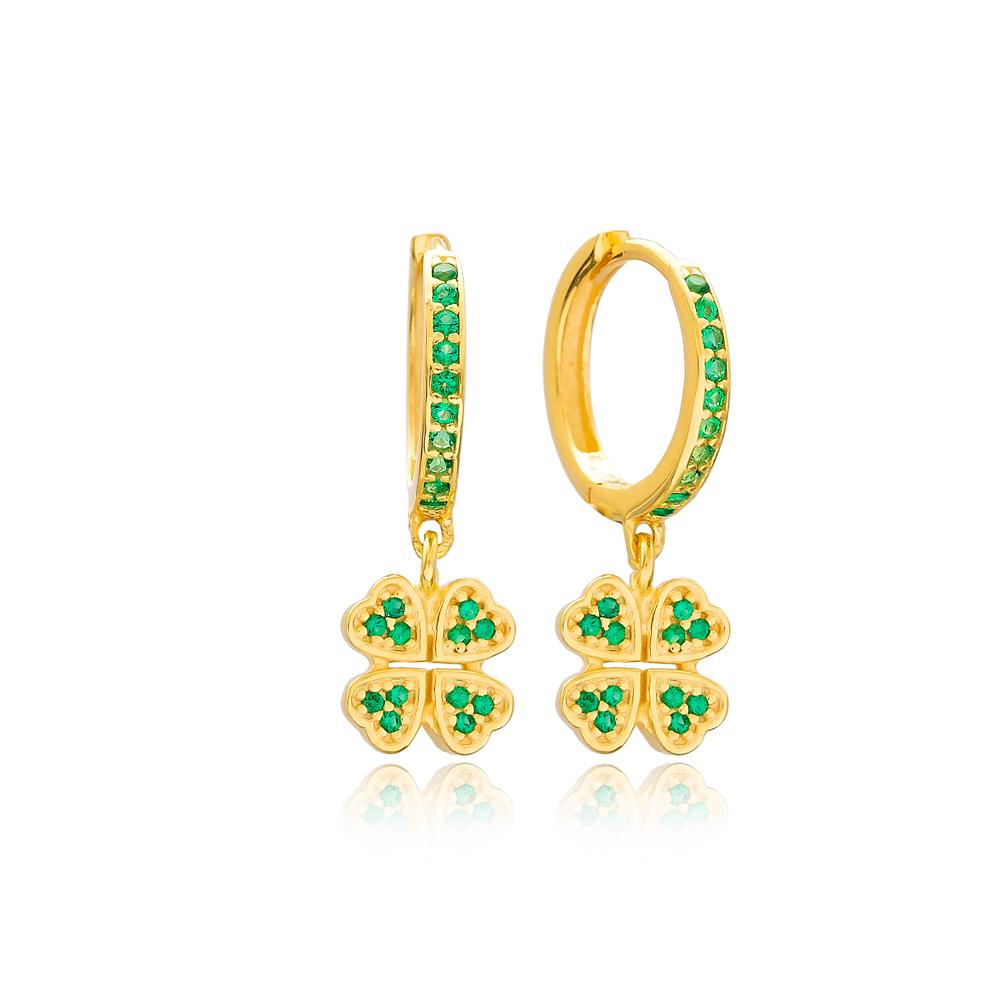 Emerald Clover Dangle Earrings Turkish Wholesale Handmade Sterling Silver Earring
