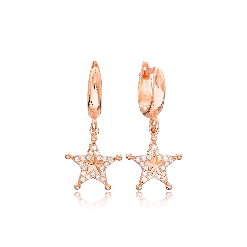 Star Design Zircon Dangle Earrings Turkish Wholesale Sterling Silver Jewelry