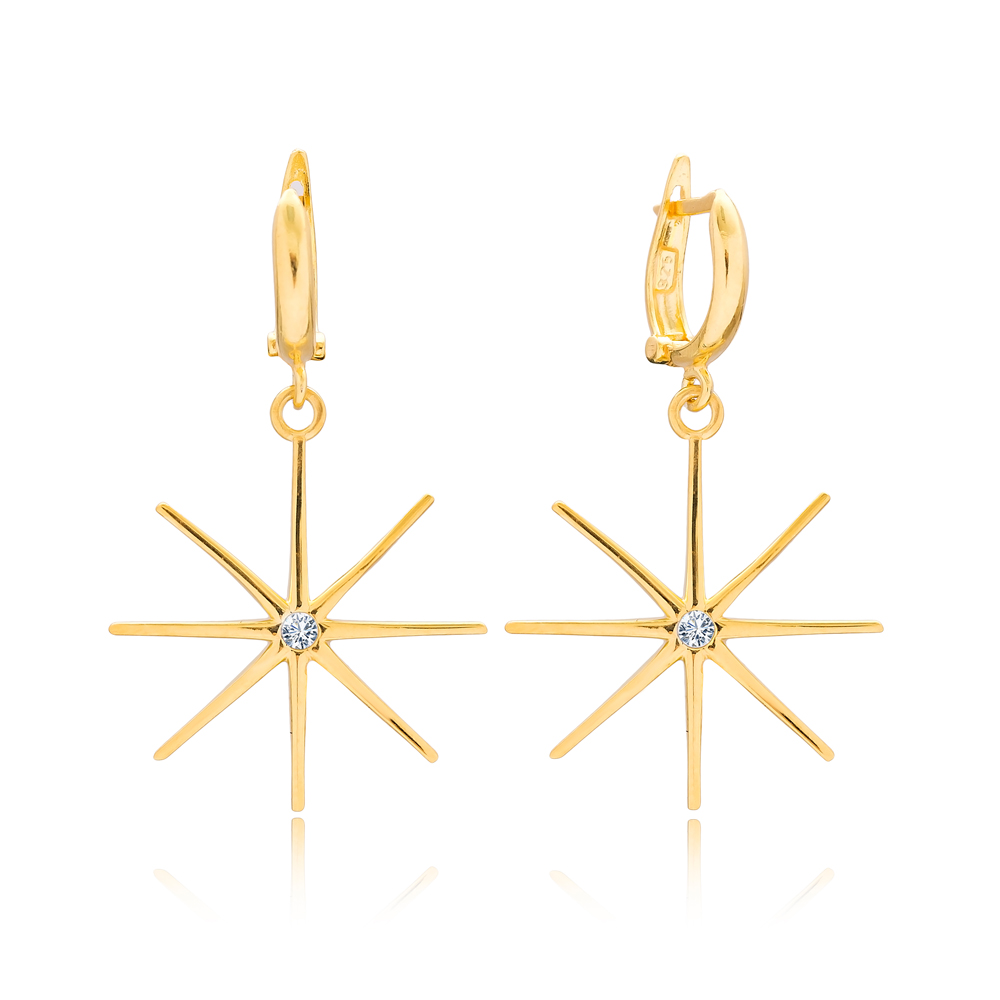 Charm North Star Design Dangle Earrings Turkish Wholesale 925 Sterling Silver Jewelry
