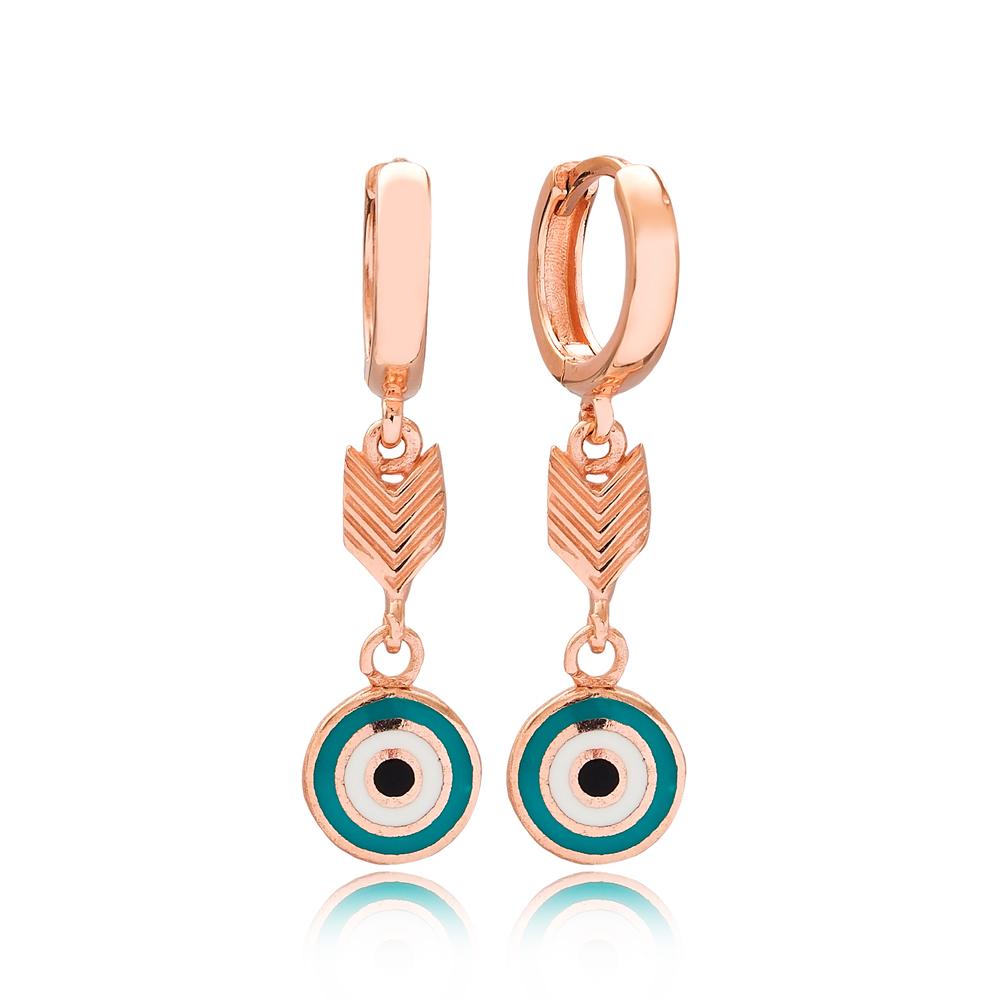 Arrow Shape Evil Eye Design Turkish Wholesale Handmade 925 Sterling Silver Dangle Earrings
