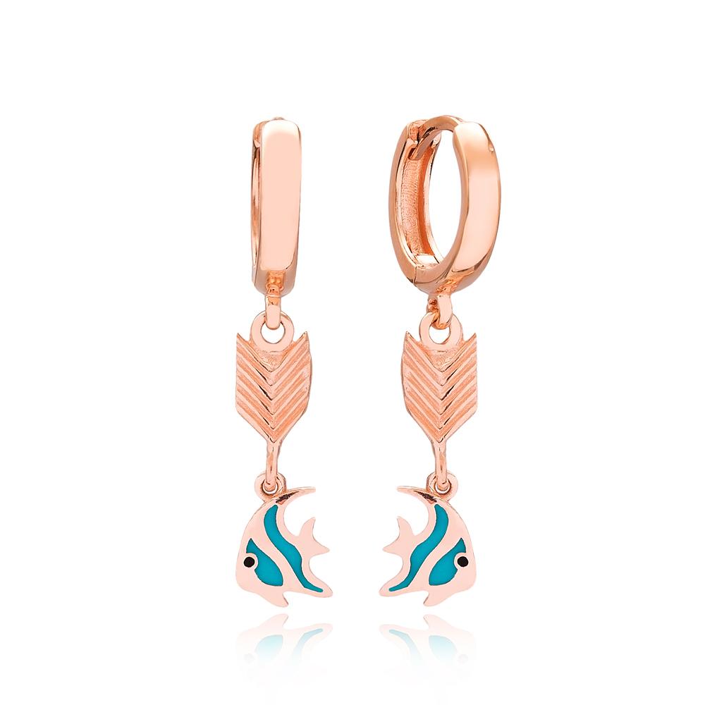 Fish Design Arrow Shape Turkish Wholesale Handmade 925 Sterling Silver Dangle Earrings