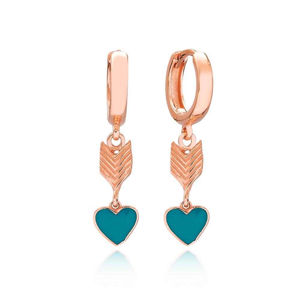 Heart Design Arrow Shape Turkish Wholesale Handmade 925 Sterling Silver Dangle Earrings