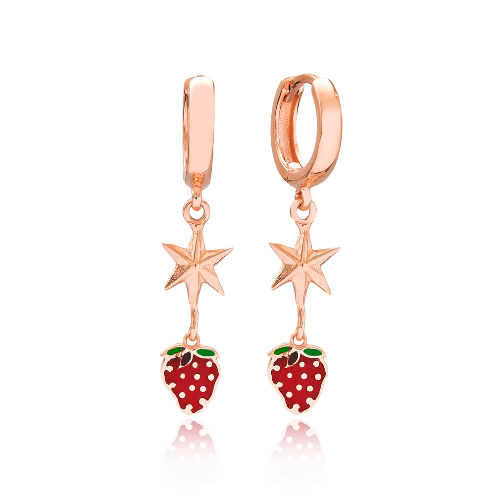 Strawberry and North Star Design Turkish Wholesale Handmade 925 Sterling Silver Dangle Earrings