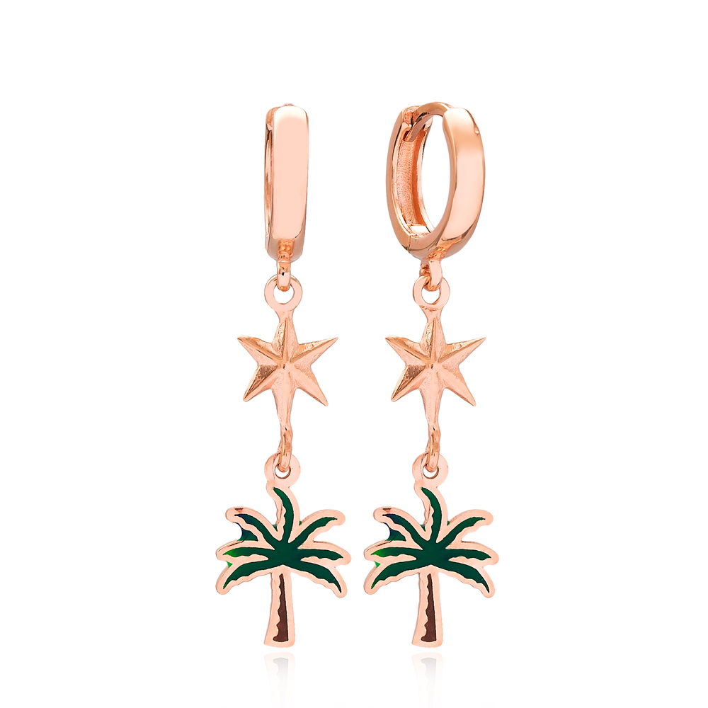 Palm Tree and North Star Design Turkish Wholesale Handmade 925 Sterling Silver Dangle Earrings
