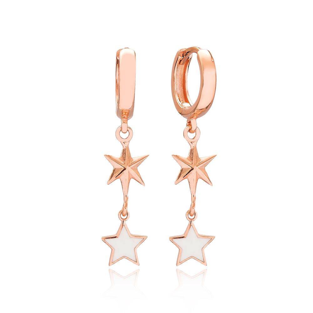 Star and North Star Design Turkish Wholesale Handmade 925 Sterling Silver Dangle Earrings
