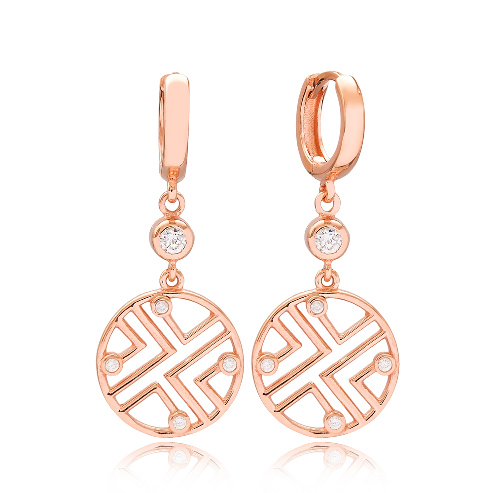Fashionable Round Shape Zircon Stone Turkish Wholesale Handmade 925 Sterling Silver Dangle Earrings