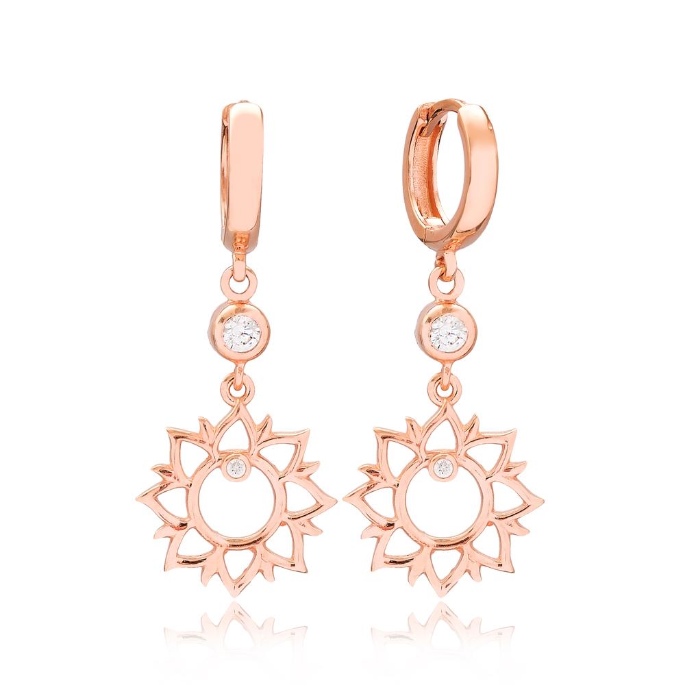 Elegant Flower Shape Zircon Stone Turkish Wholesale Handmade 925 Sterling Silver Dangle Earrings