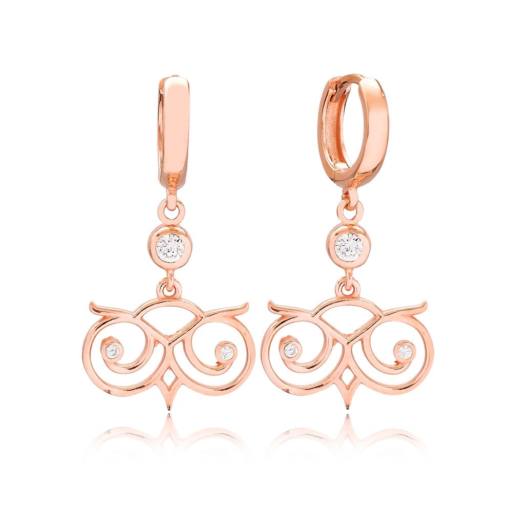 Fashionable Design Zircon Stone Turkish Wholesale Handmade 925 Sterling Silver Dangle Earrings