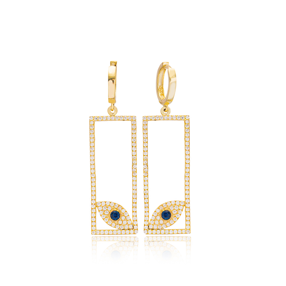 Evil Eye Design In Rectangle Shape Dangle Earrings Turkish Wholesale Handmade 925 Sterling Silver Jewelry