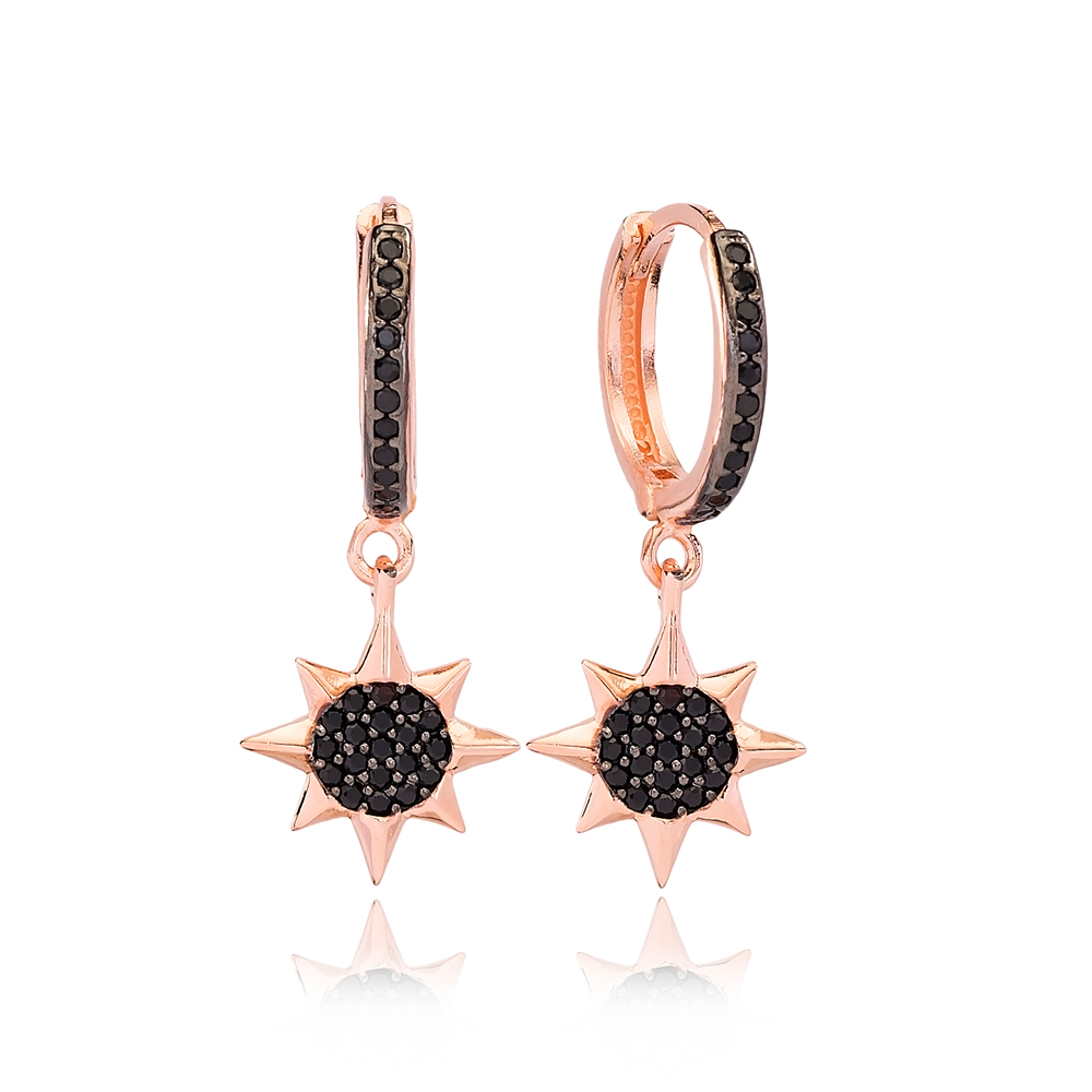Ø14 mm Sized North Star Design Dangle Earrings Turkish Wholesale Handmade 925 Sterling Silver Jewelry