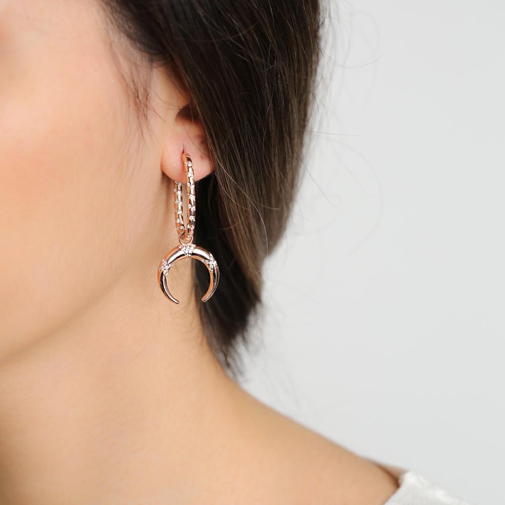 Elegant Moon Design Dangle Earrings Turkish Wholesale Handmade 925 Sterling Silver Jewelry