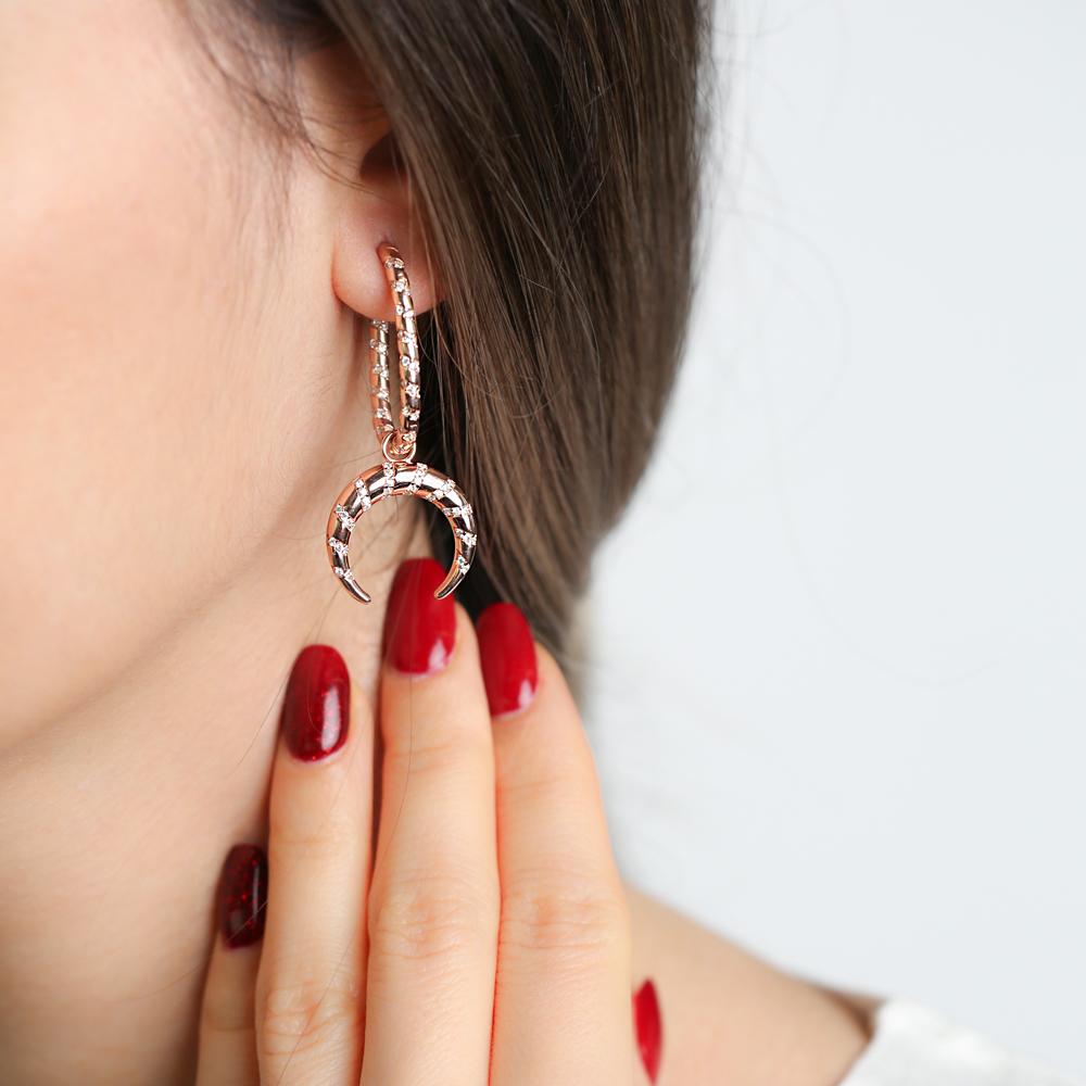Dainty Moon Design Dangle Earrings Turkish Wholesale Handmade 925 Sterling Silver Jewelry