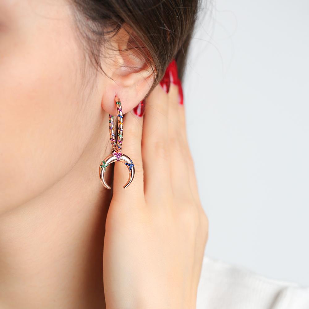 Multi Stone Moon Design Dangle Earrings Turkish Wholesale Handmade 925 Sterling Silver Jewelry
