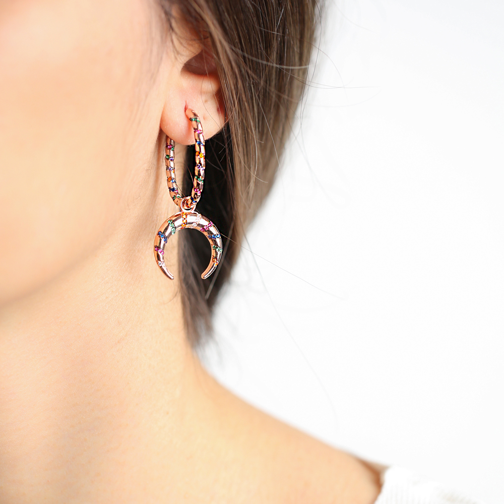 Colorful Stone Moon Design Dangle Earrings Turkish Wholesale Handmade 925 Sterling Silver Jewelry