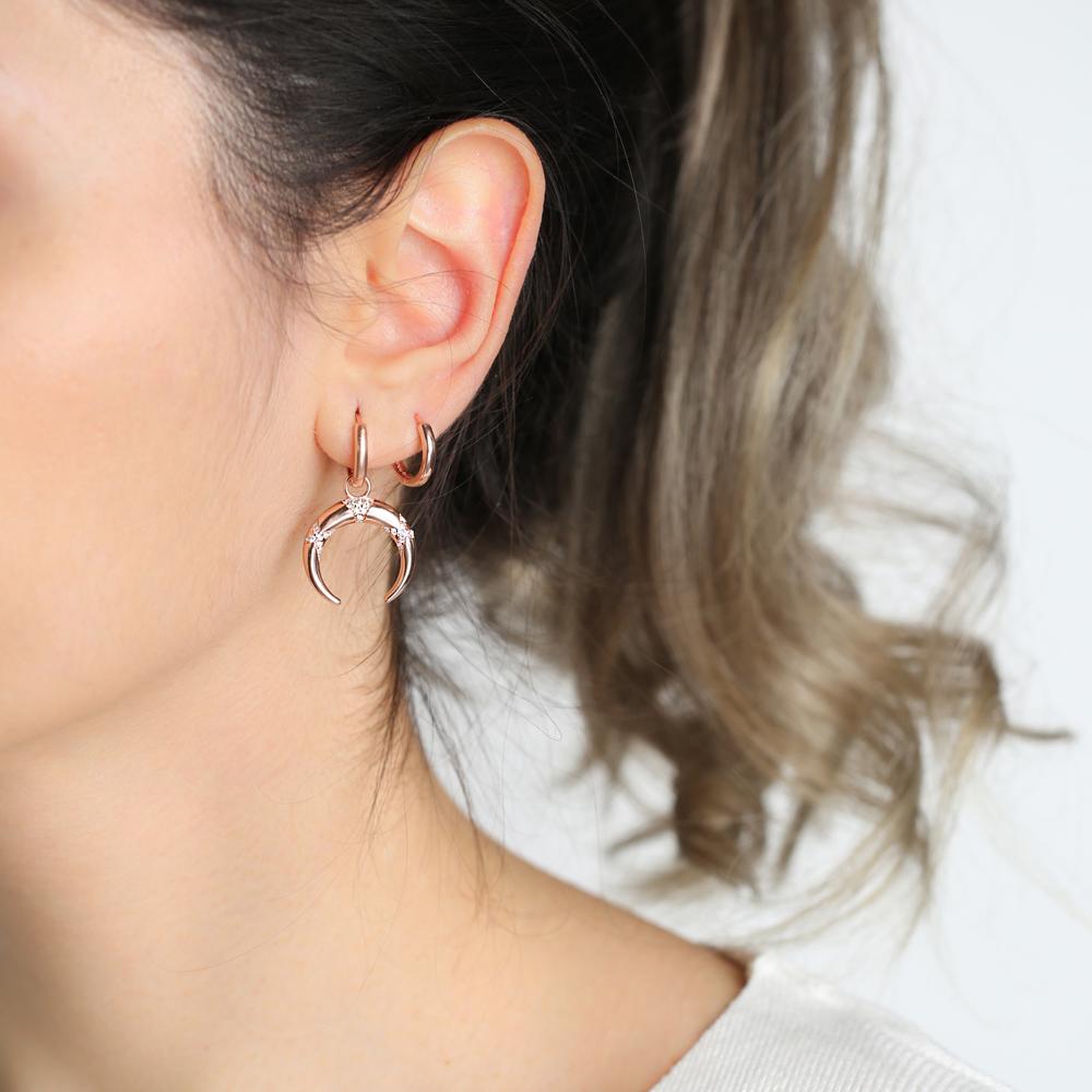 Fashionable Moon Design Dangle Earrings Turkish Wholesale Handmade 925 Sterling Silver Jewelry