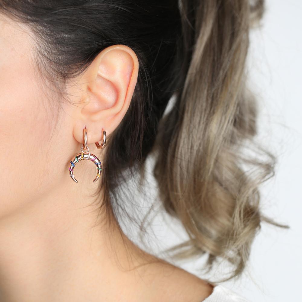 Rainbow Stone Moon Design Dangle Earrings Turkish Wholesale Handmade 925 Sterling Silver Jewelry