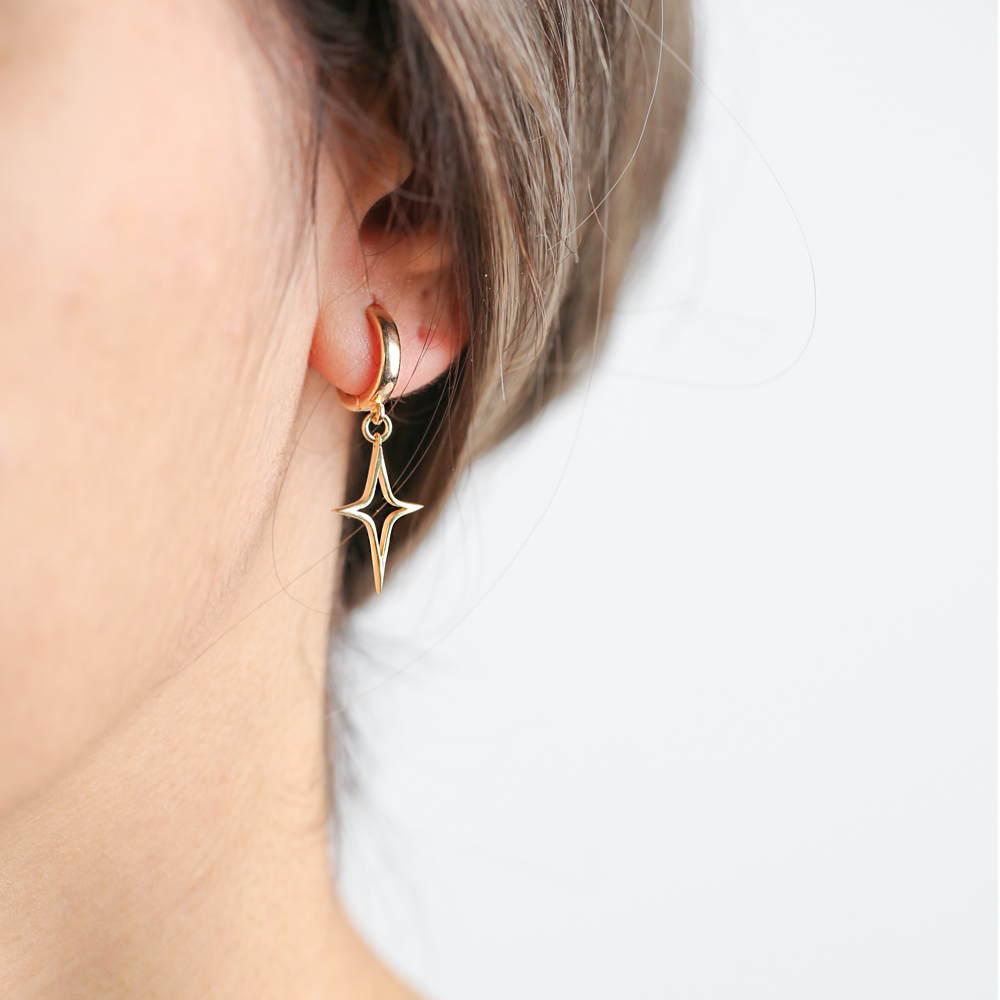 Simple North Star Design Dangle Earrings Turkish Wholesale Handmade 925 Sterling Silver Jewelry