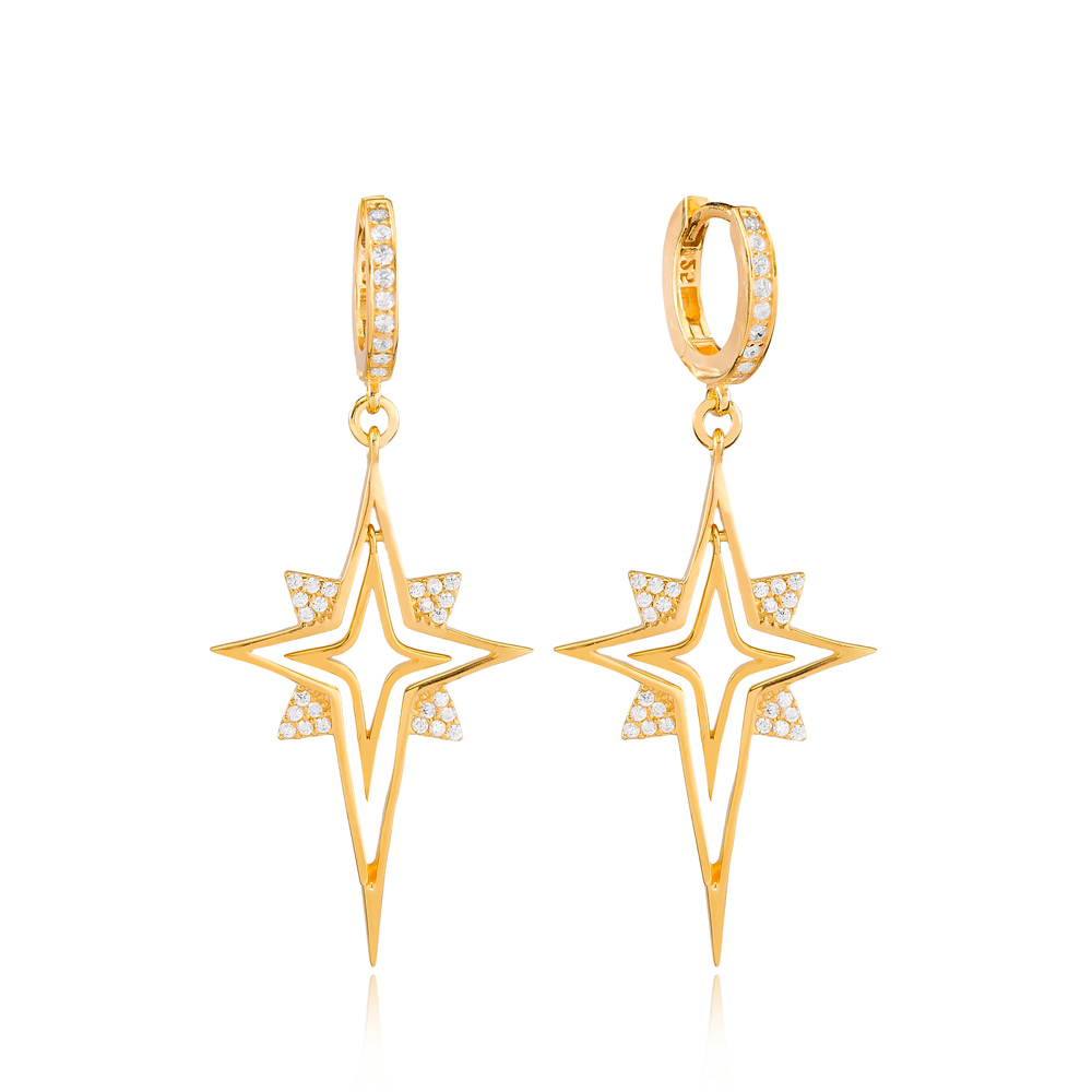 Unique North Star Design Zircon Stone Dangle Earrings Turkish Wholesale Handmade 925 Sterling Silver Jewelry