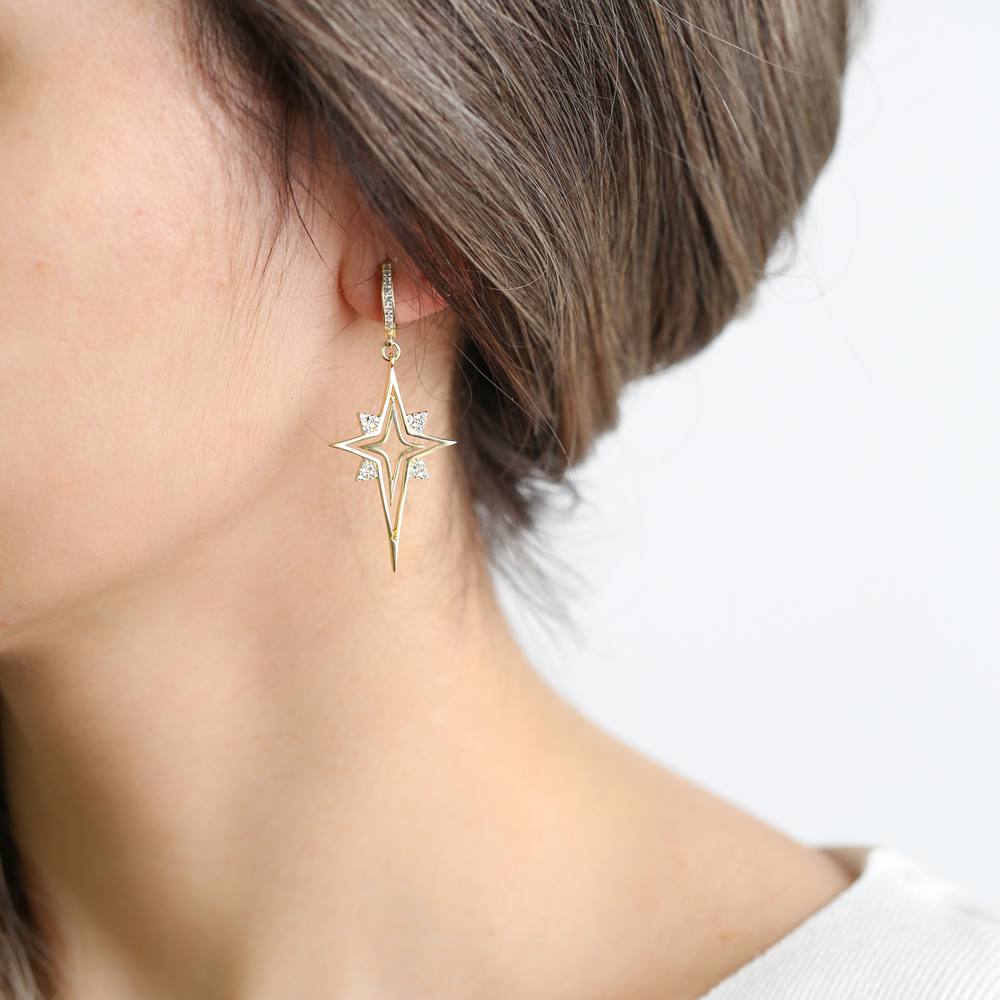 Unique North Star Design Zircon Stone Dangle Earrings Turkish Wholesale Handmade 925 Sterling Silver Jewelry