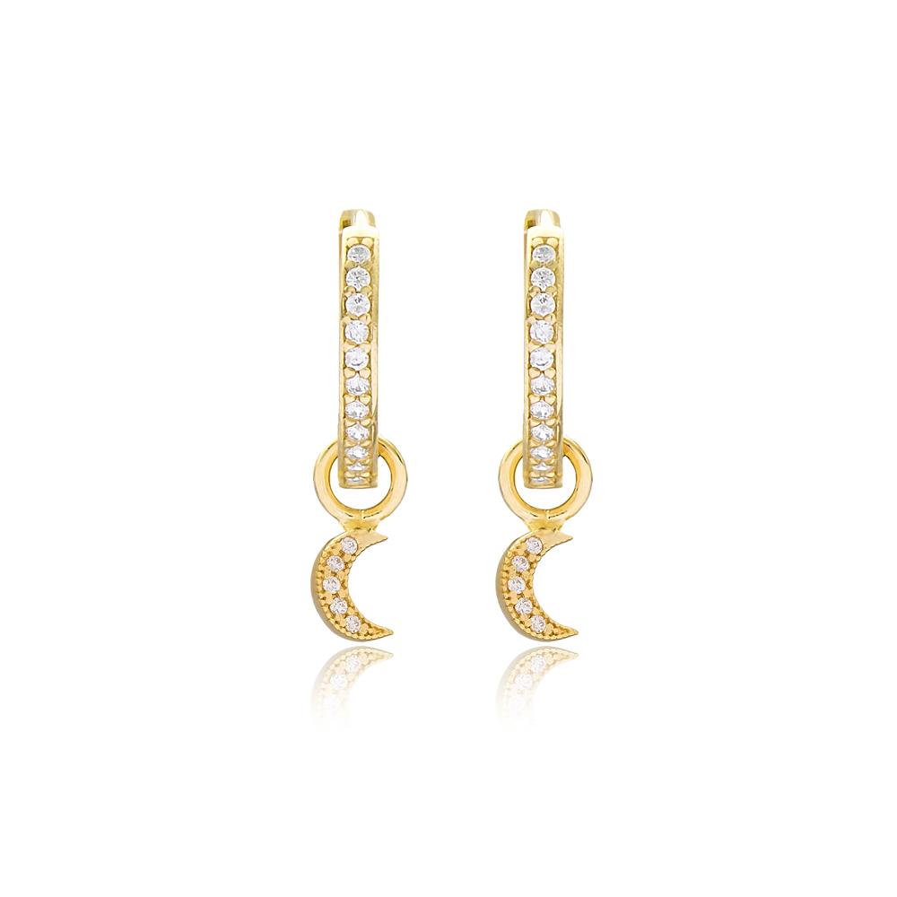 Moon Design Dangle Earrings Handmade 925 Sterling Silver Jewelry