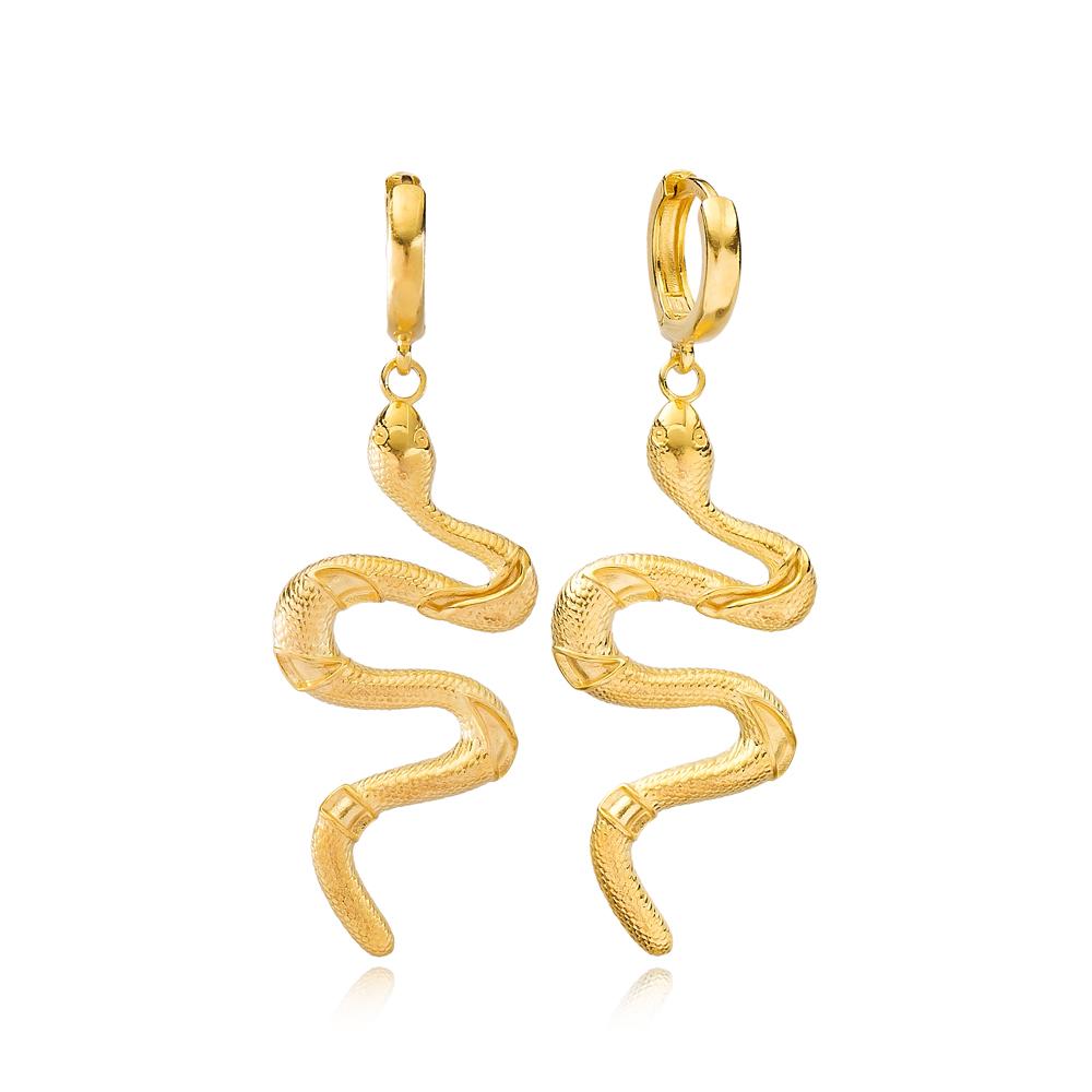 Snake Design Handmade Turkish Wholesale 925 Sterling Silver Dangle Earring
