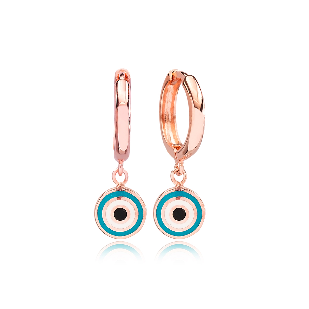 Round Shape Evil Eye Handcrafted Turkish Wholesale 925 Sterling Silver Dangle Earrings