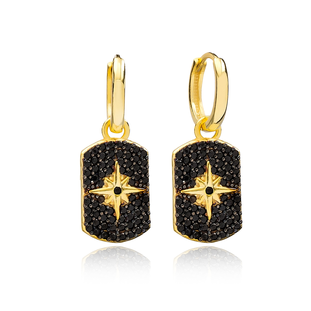 Fashion Black Zircon North Star Shape Dangle Earrings Wholesale Turkish Handmade 925 Sterling Silver Jewelry