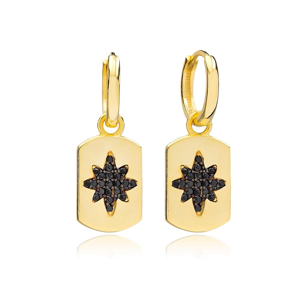Black Zircon Trendy Silver Dangle Earrings Wholesale Turkish Handmade 925 Sterling Silver Jewelry
